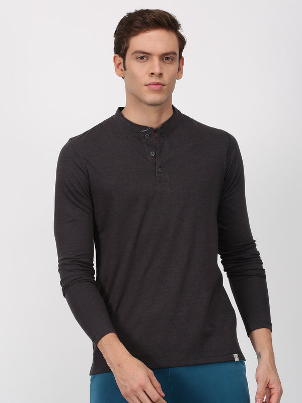 Dark Melange Plain Long Sleeve Casual T-Shirt