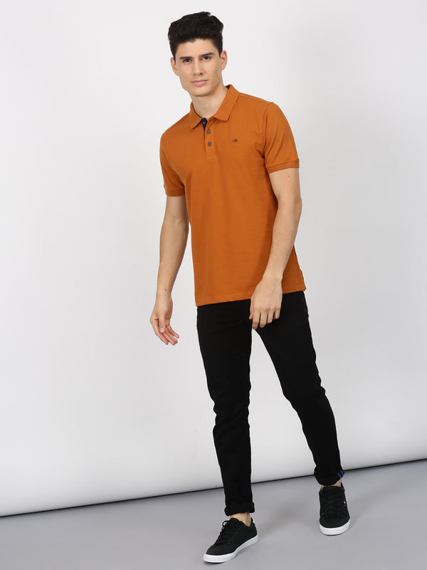 Mustard Plain Short Sleeve Casual T-Shirt
