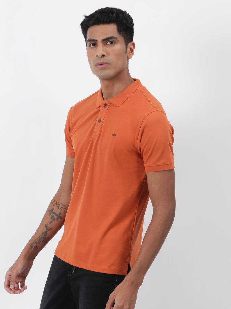 Orange Plain Short Sleeve Casual T-Shirt