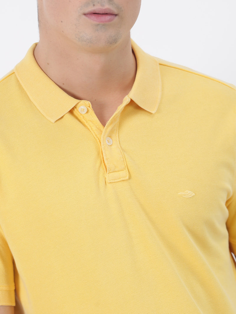 Yellow Plain Short Sleeve Casual T-Shirt