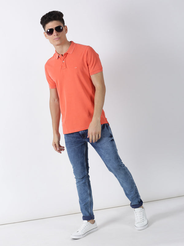 Coral Plain Short Sleeve Casual T-Shirt