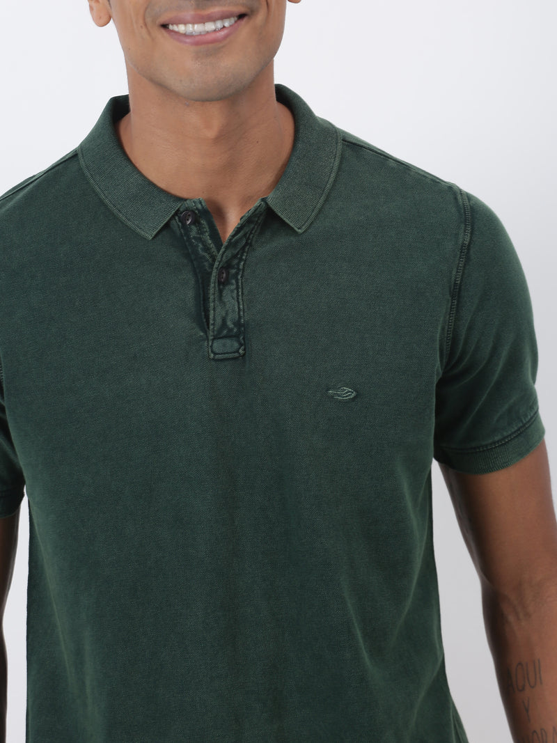 Bottle Green Plain Short Sleeve Casual T-Shirt