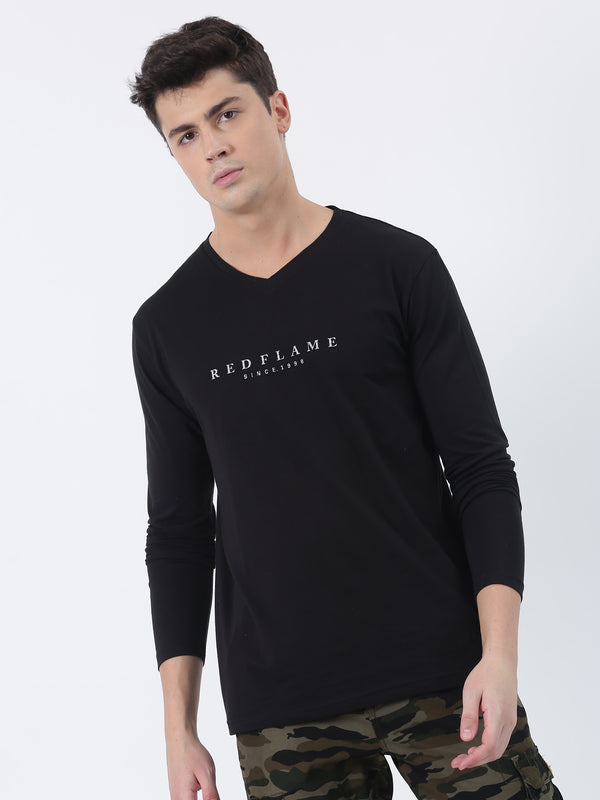 Black Chest Print Long Sleeve Casual T-Shirt