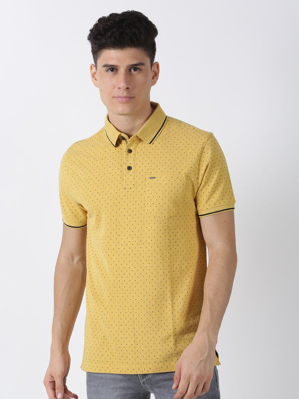 Yellow Melange Printed Short Sleeve Casual T-Shirt