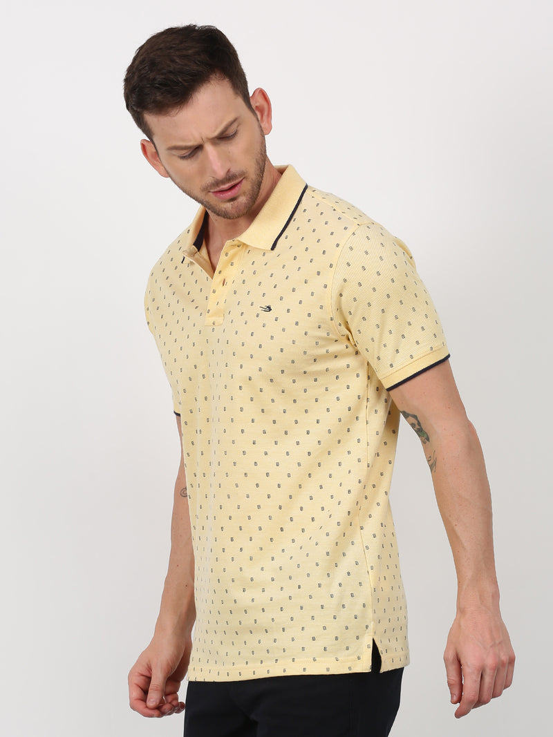 Gold Printed Short Sleeve Casual T-Shirt