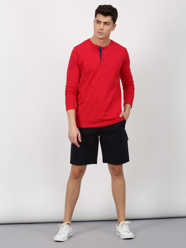 Red Plain Long Sleeve Casual T-Shirt