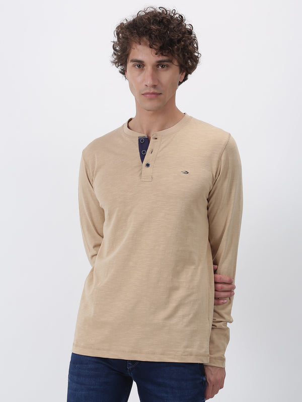 Beige Plain Long Sleeve Casual T-Shirt