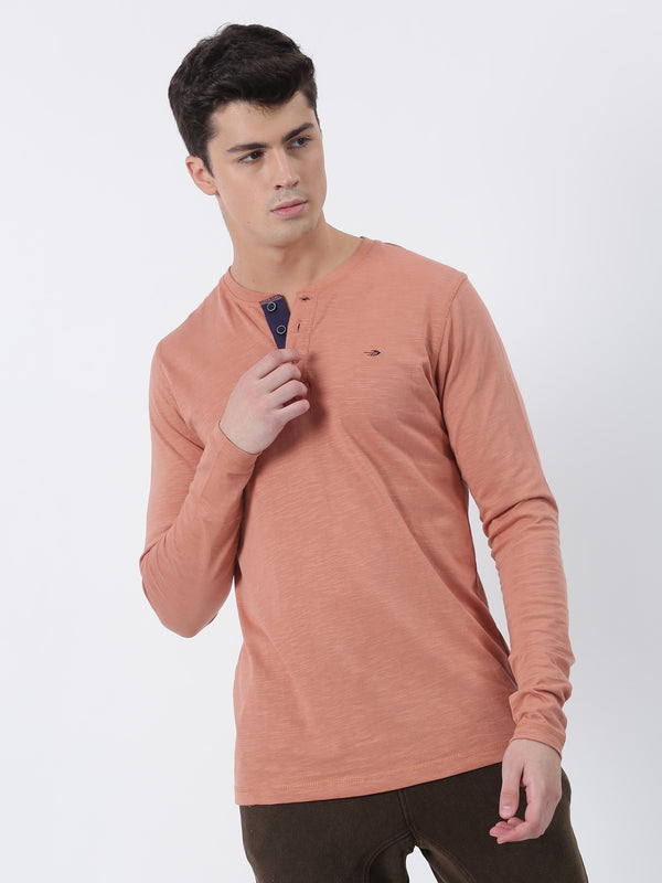 Coral Plain Long Sleeve Casual T-Shirt