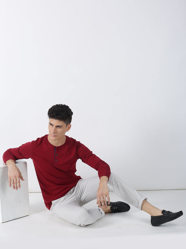 Maroon Plain Long Sleeve Casual T-Shirt