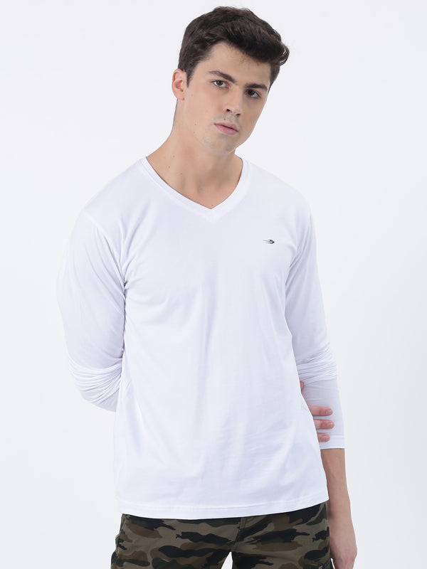 White Plain Long Sleeve Casual T-Shirt