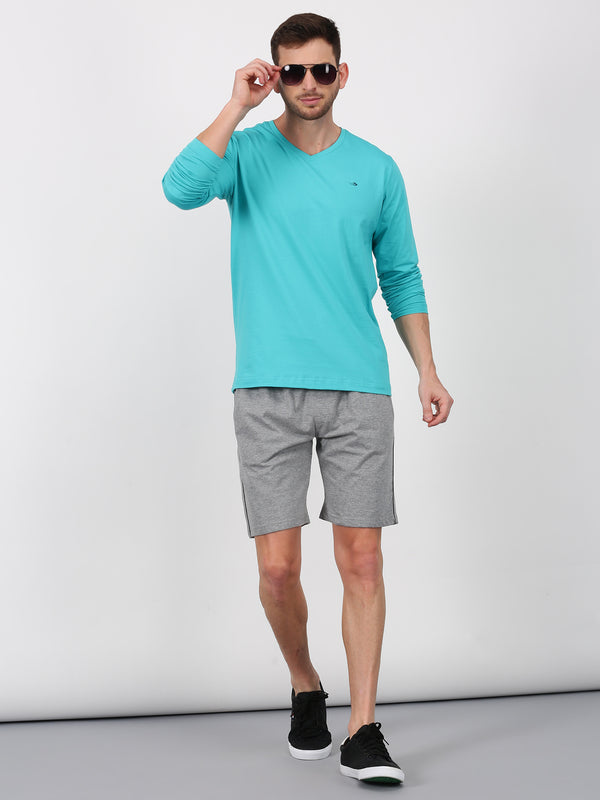 Teal Blue Plain Long Sleeve Casual T-Shirt