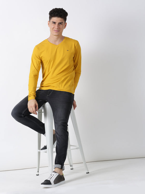 Gold Plain Long Sleeve Casual T-Shirt