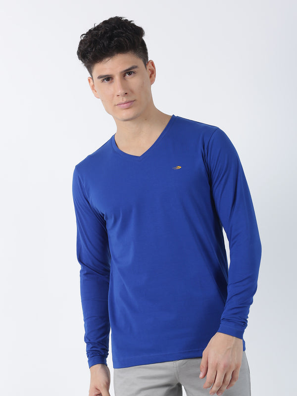 Royal Blue Plain Long Sleeve Casual T-Shirt