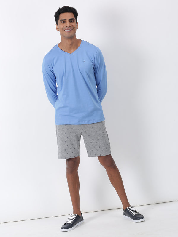 Blue Plain Long Sleeve Casual T-Shirt