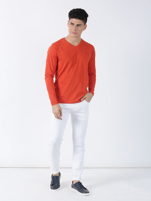 Orange Plain Long Sleeve Casual T-Shirt