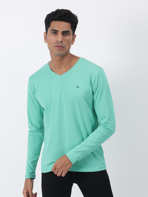 Sea Green Plain Long Sleeve Casual T-Shirt
