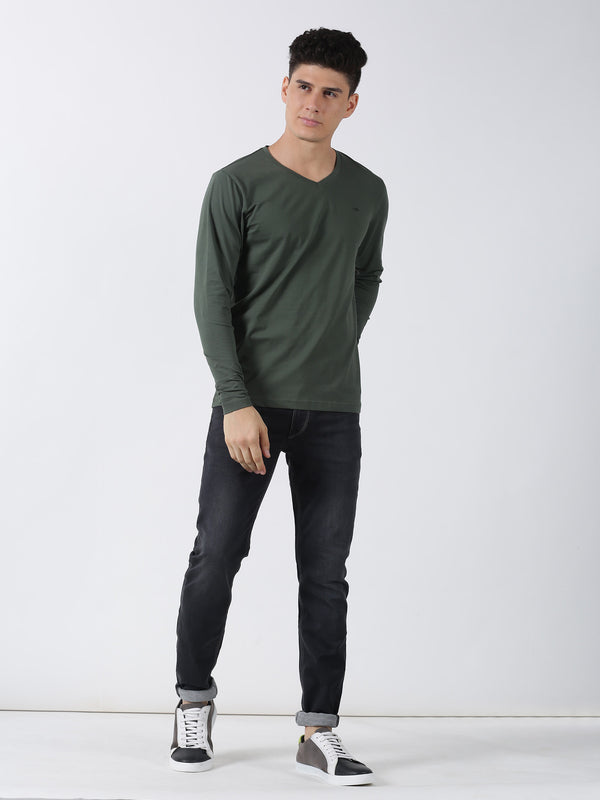 Olive Plain Long Sleeve Casual T-Shirt
