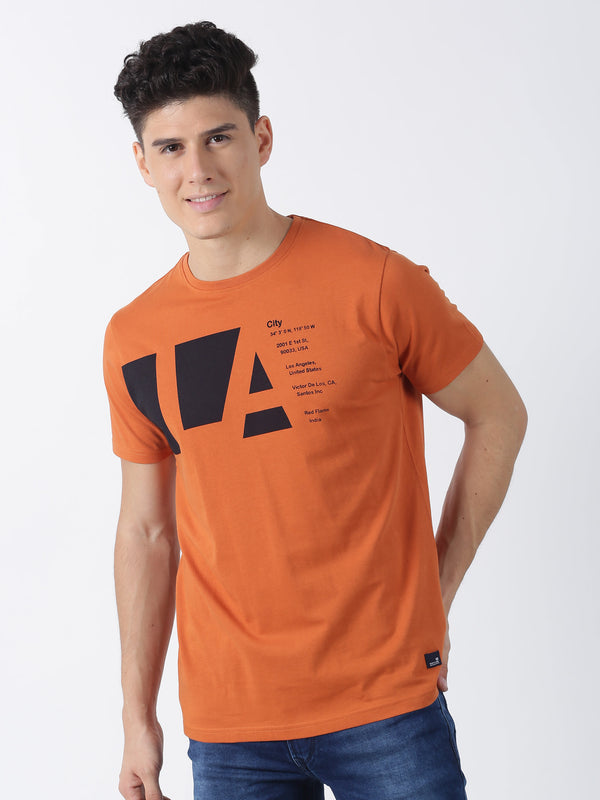 Orange Chest Print Short Sleeve Casual T-Shirt
