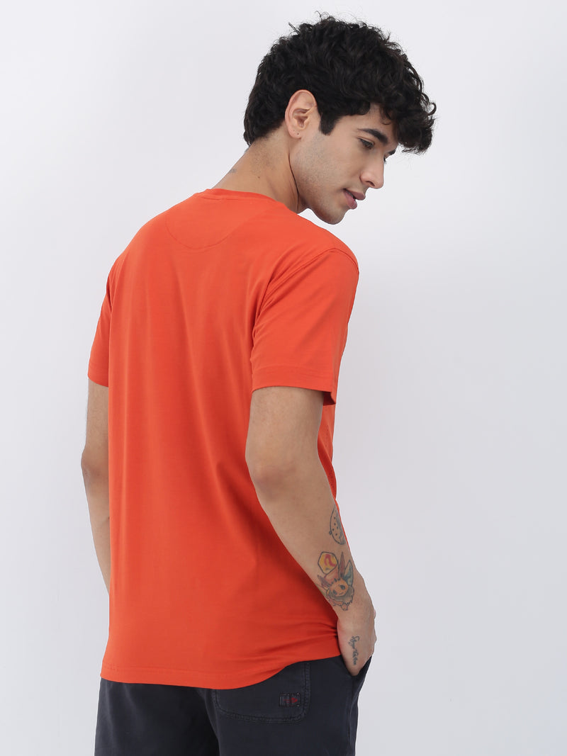 Coral Chest Print Short Sleeve Casual T-Shirt