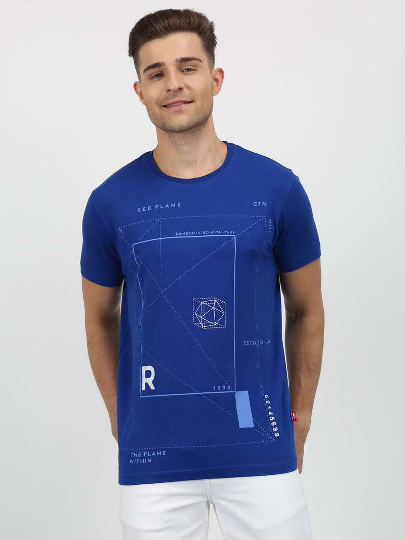 Royal Blue Chest Print Short Sleeve Casual T-Shirt