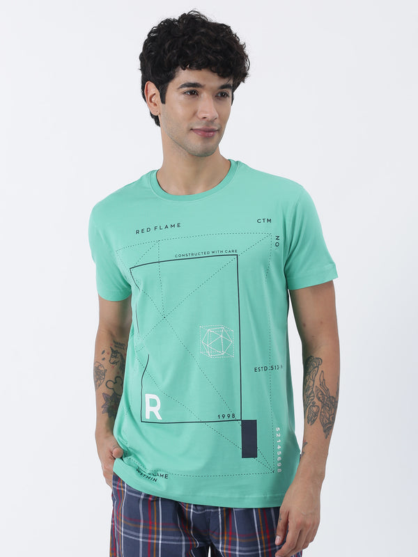 Green Chest Print Short Sleeve Casual T-Shirt