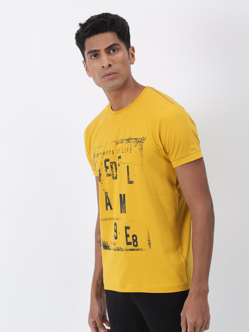 Gold Chest Print Short Sleeve Casual T-Shirt