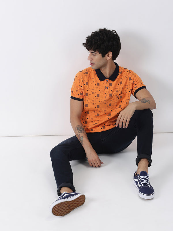 Orange Printed Short Sleeve Casual T-Shirt