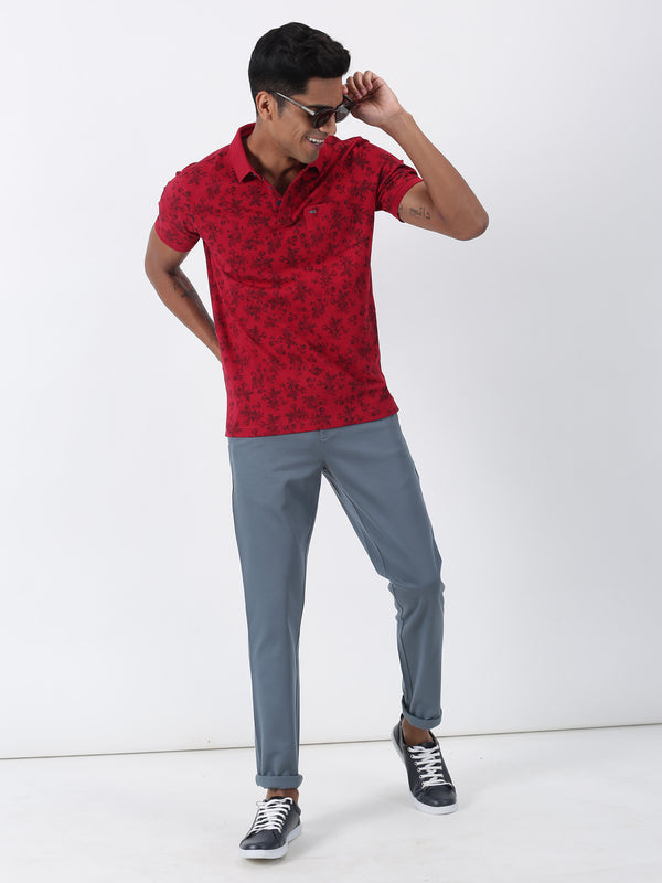 Maroon Printed Short Sleeve Casual T-Shirt