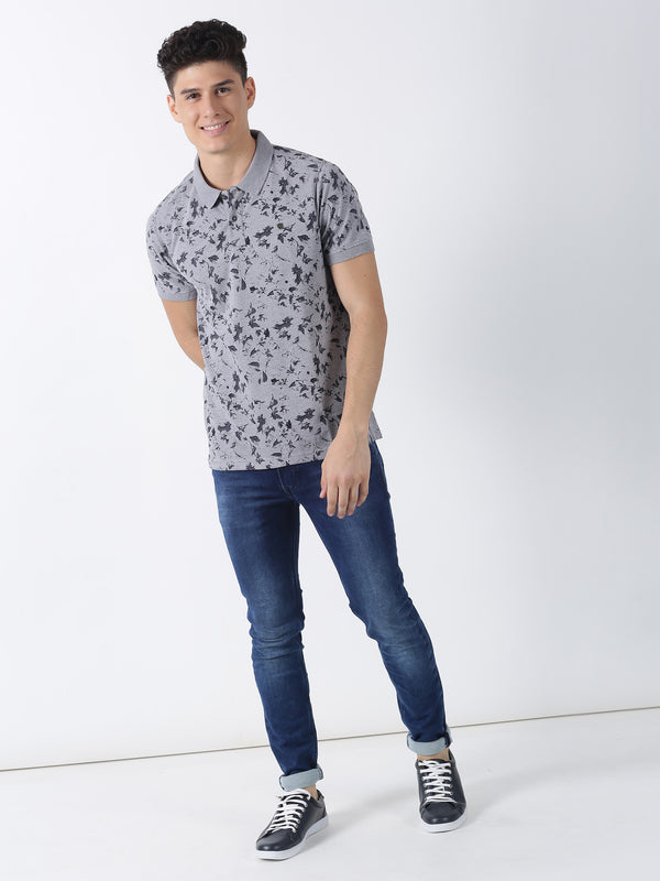 Grey Mel Printed Short Sleeve Casual T-Shirt