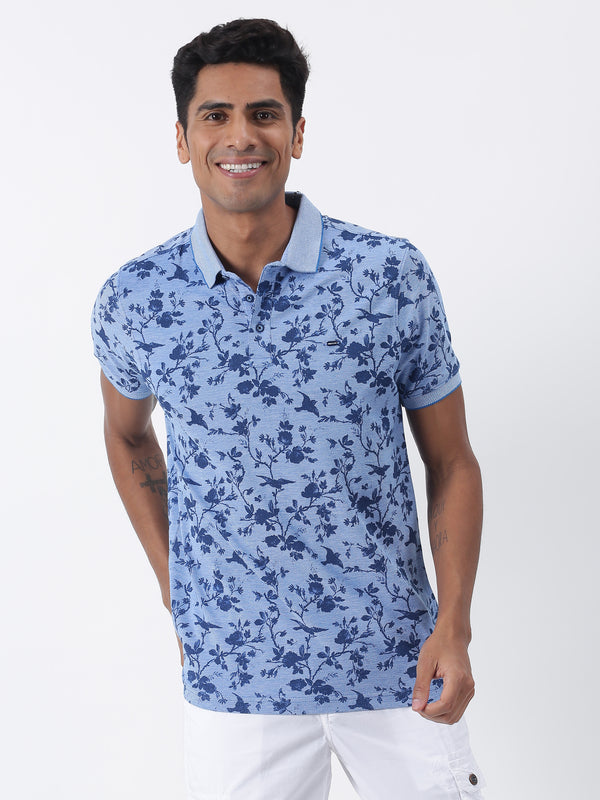 Blue Printed Short Sleeve Casual T-Shirt