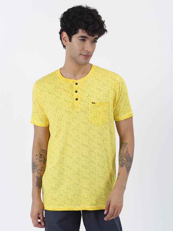 Yellow Printed Short Sleeve Casual T-Shirt