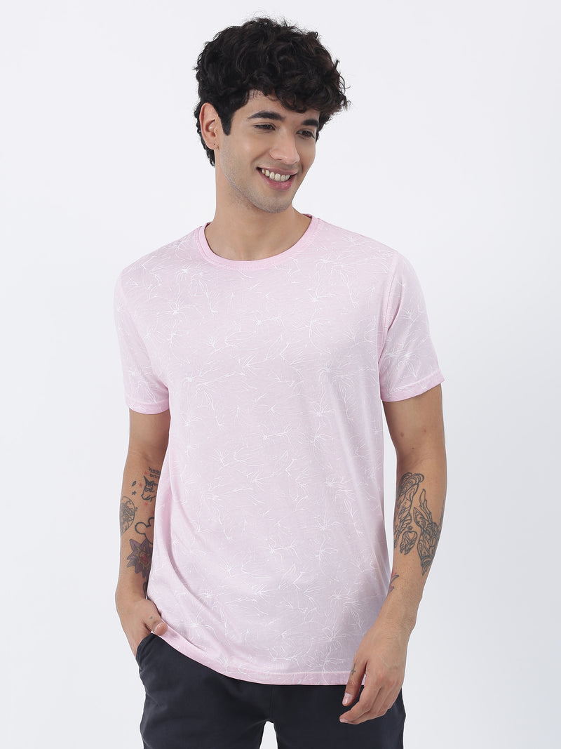 Light Pink Printed Short Sleeve Casual T-Shirt