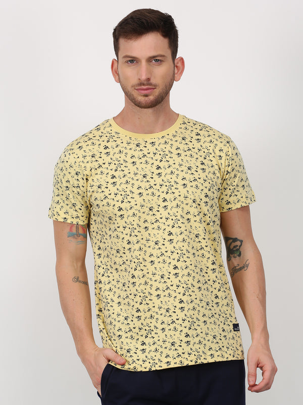 Cream Printed Short Sleeve Casual T-Shirt