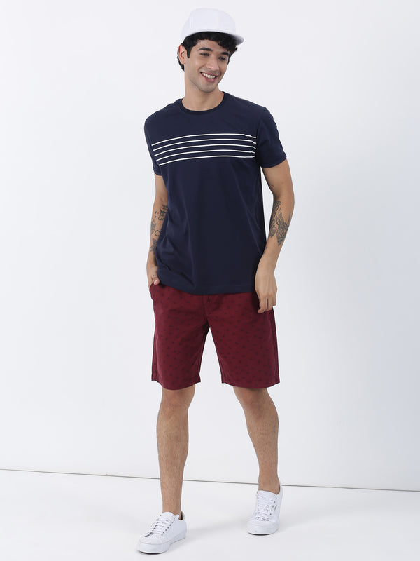 Navy Chest Print Short Sleeve Casual T-Shirt
