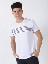 White Chest Print Short Sleeve Casual T-Shirt