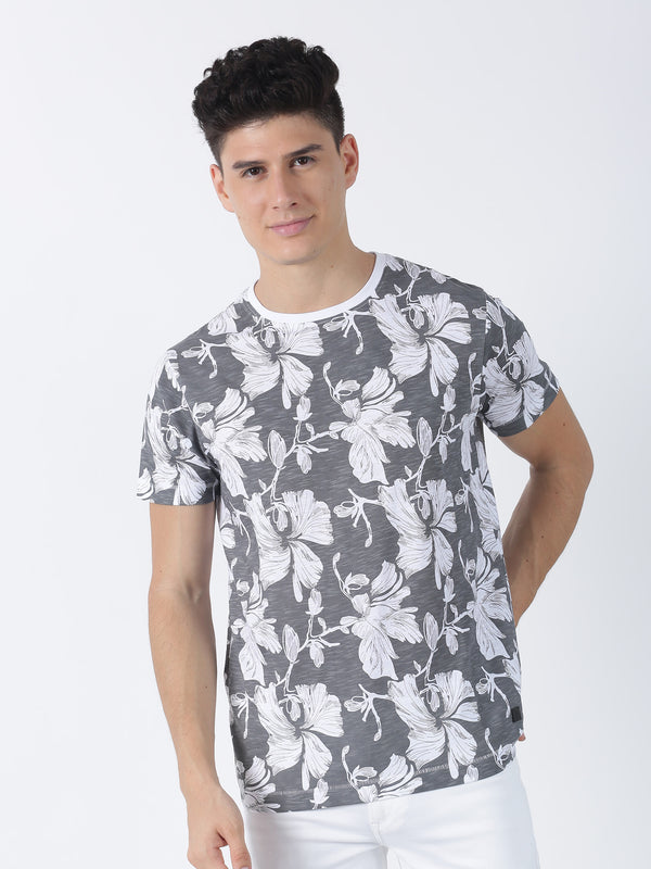 Steel Grey Printed Short Sleeve Casual T-Shirt