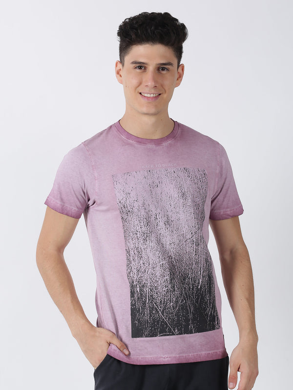 Dusty Pink Chest Print Short Sleeve Casual T-Shirt
