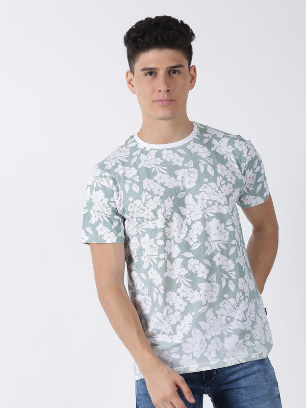 Green Printed Short Sleeve Casual T-Shirt