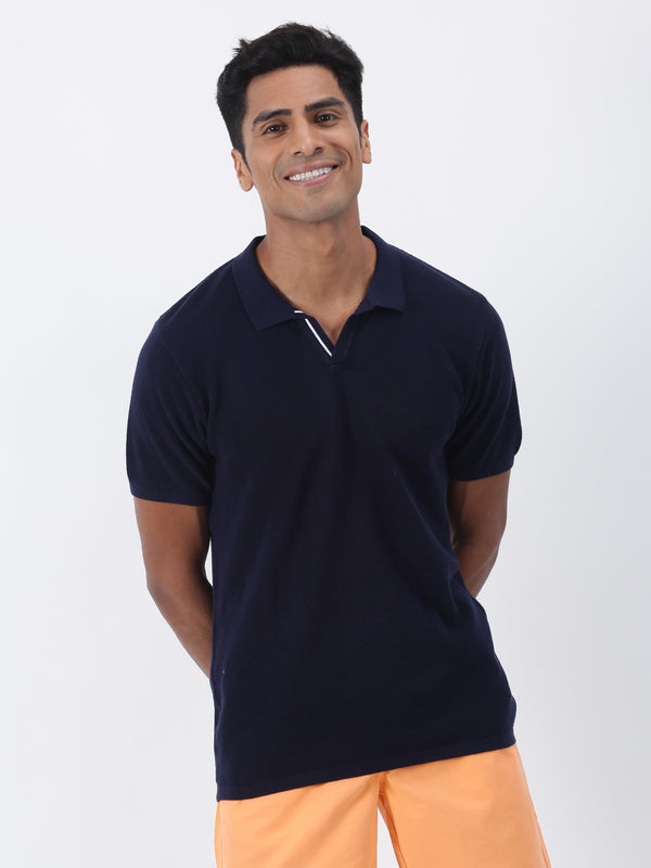 Navy Plain Short Sleeve Casual T-Shirt