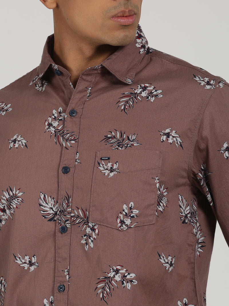 Brown Printed Long Sleeve Casual Shirt
