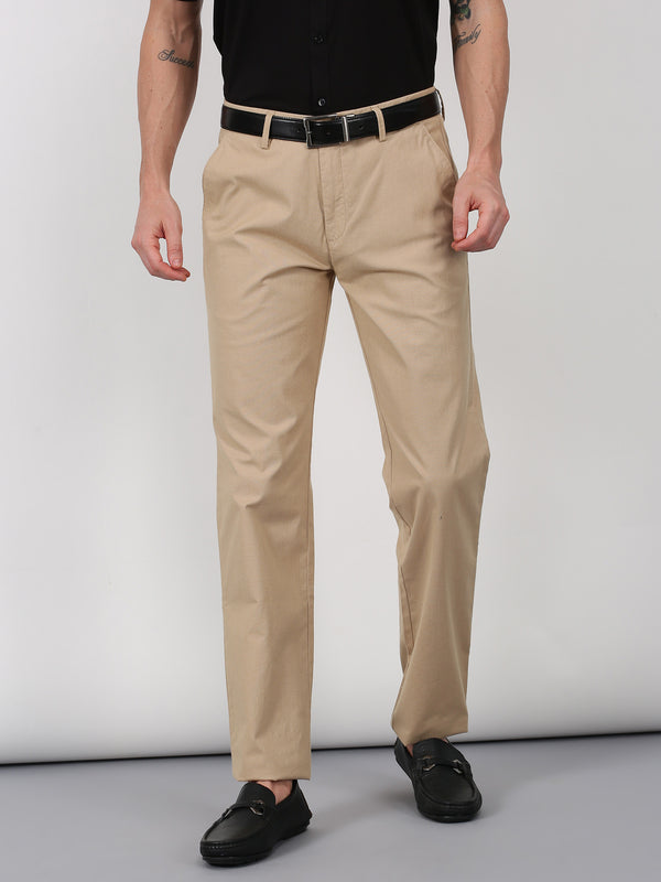 Beige Plain Slim Fit Trouser