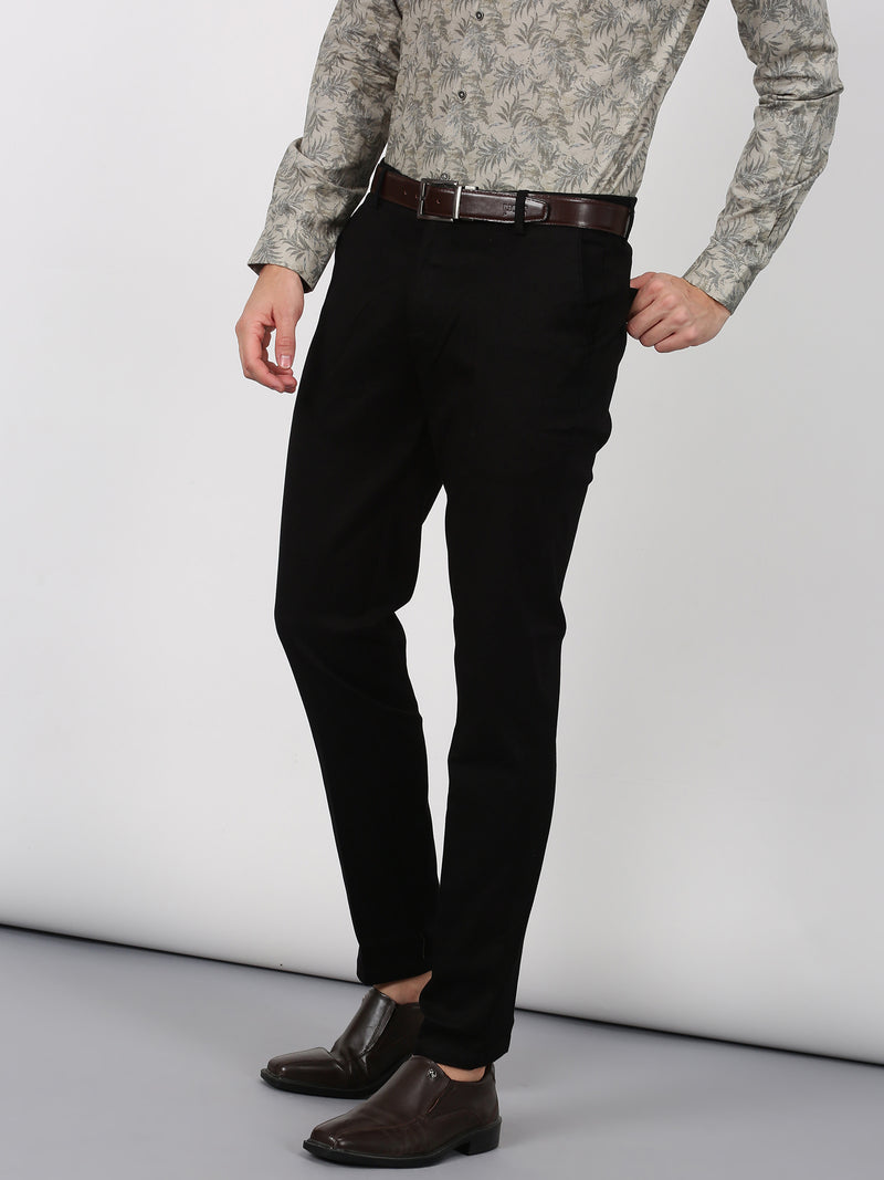 Black Plain Sleek Fit Trouser