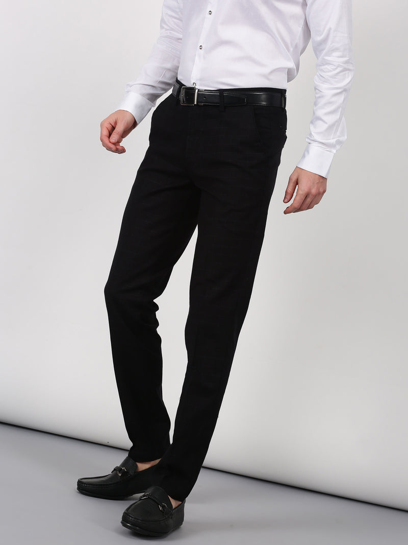 Black Checked Sleek Fit Trouser