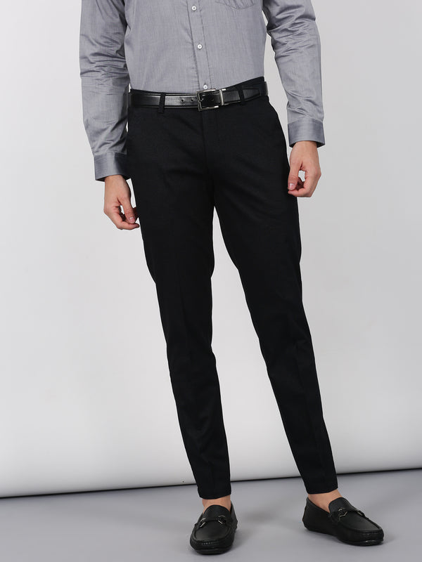 Black Printed Sleek Fit Trouser