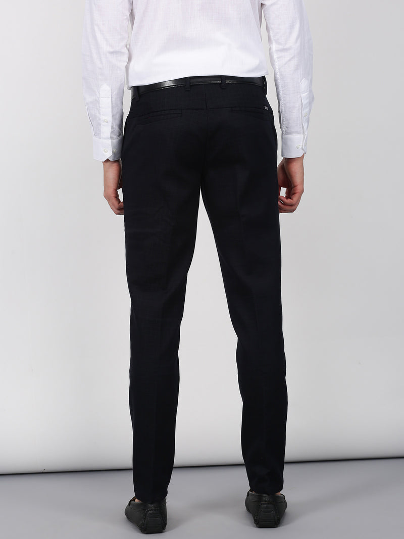 Navy Checked Sleek Fit Trouser