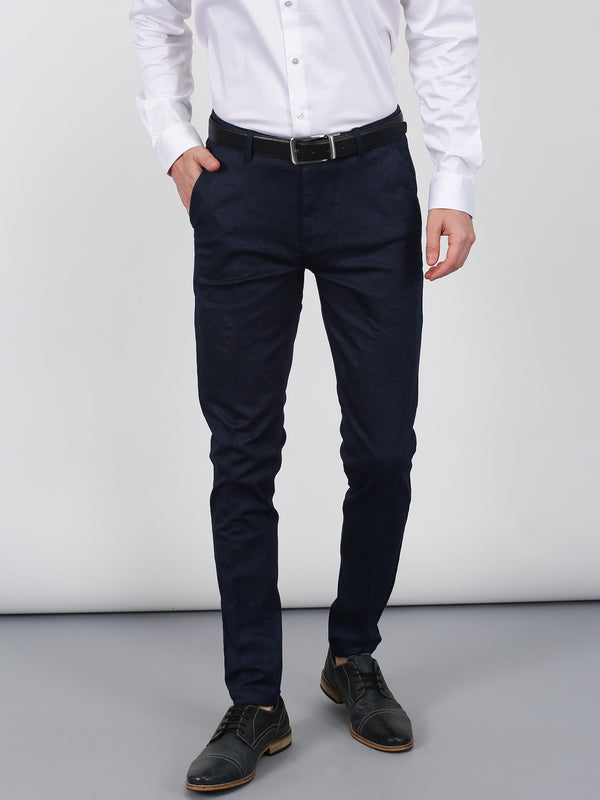 Navy Printed Sleek Fit Trouser
