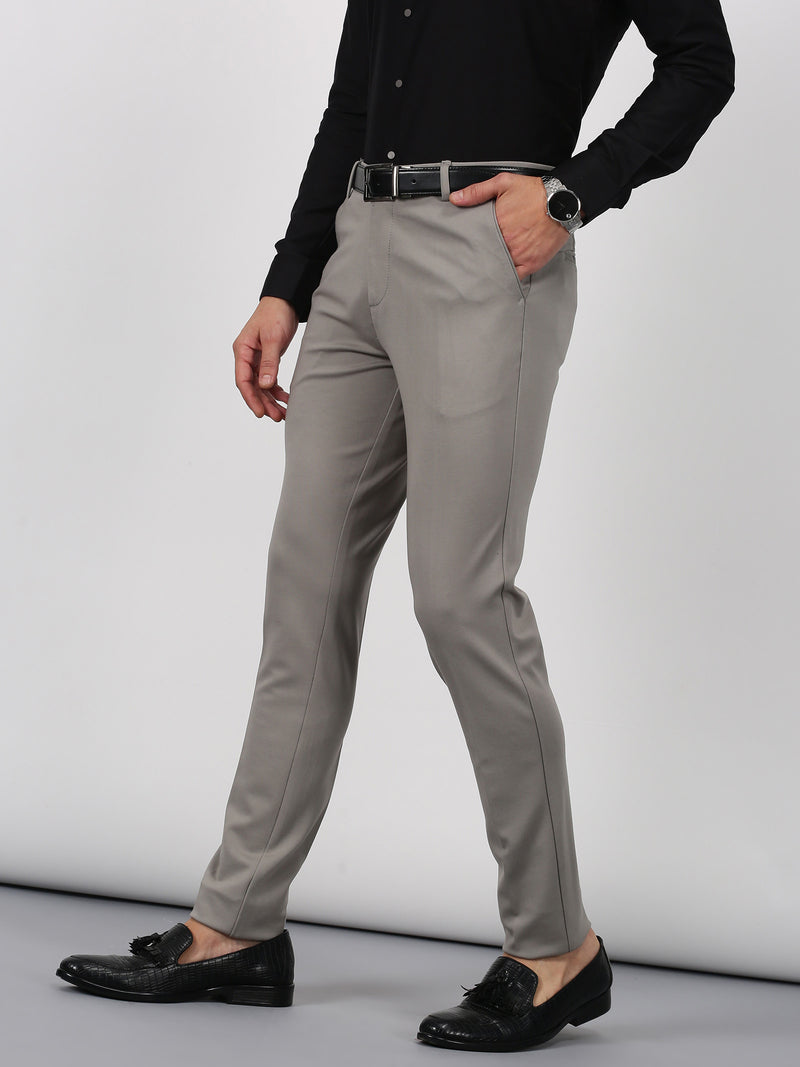 Grey Plain Sleek Fit Trouser