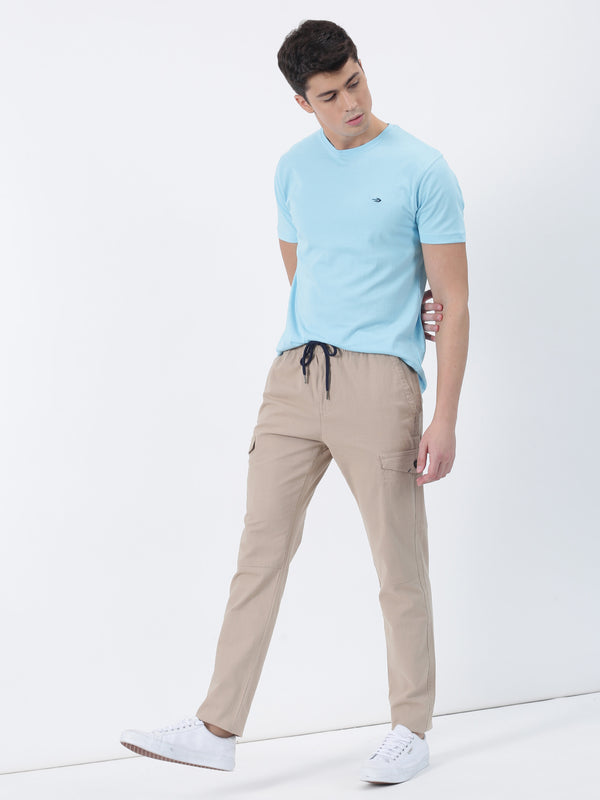 Cream Plain Casual Fit Cargo Trouser