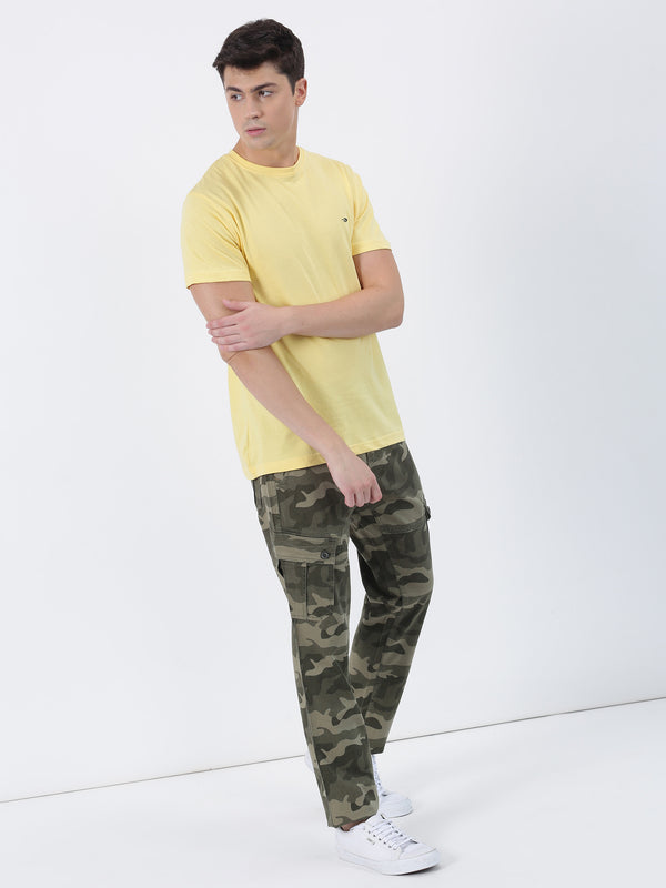 Green Printed Lean Fit Cargo Trouser