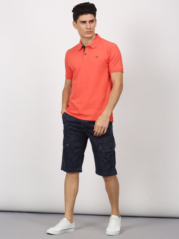 Navy Printed Casual Cargo Short